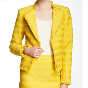 Trina Turk Evie Blazer Jacket Fringe Yellow Sz 8
